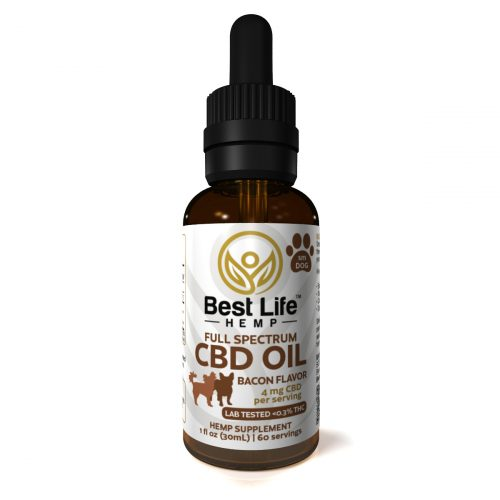 Best Life Hemp Full Spectrum CBD Tincture For Small Dogs Bacon 4mg Lab Tested